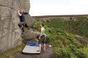 Gareth Roberts on Go West (V3 6A) on Burbage West.