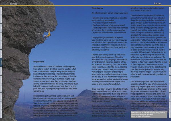 Double page spread example from Trad Climbing +